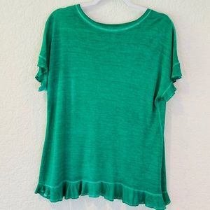 Alya Distressed Green Ruffle Hem Tulip Back Tee